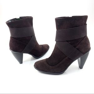 LIBBY EDELMAN brown suede futuristic ankle boots